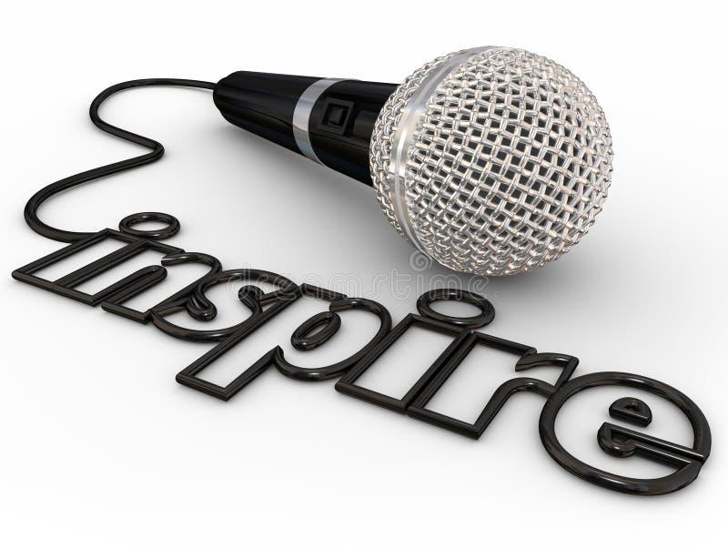 Ispiri l'allocuzione programmatica motivazionale dell'altoparlante del cavo di parola del microfono illustrazione vettoriale