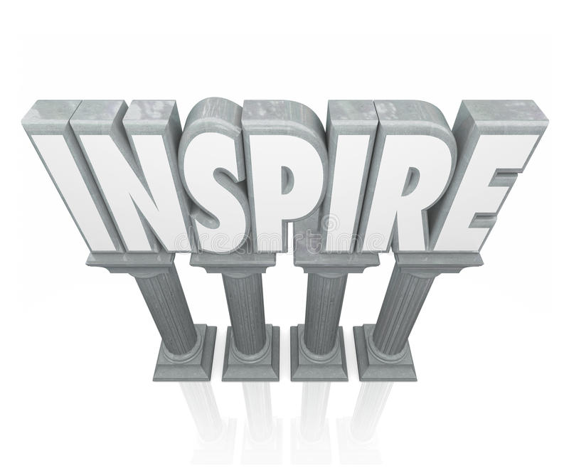 Ispiri la pietra che di parola 3d le colonne di marmo incoraggiano il successo Motivatio illustrazione vettoriale