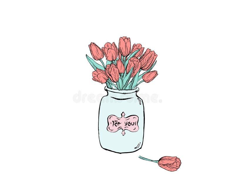 Isplated de hand getrokken vlakke illustratie met blauwe vaas en tulpen op witte backround stock illustratie