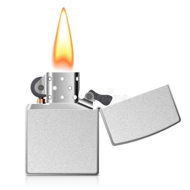 Isqueiro com flama. Vetor detalhado. ilustração do vetor