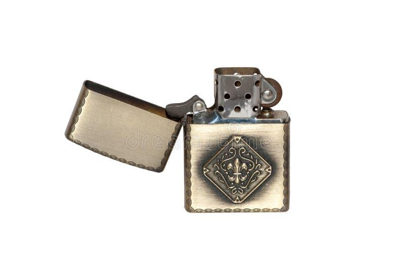 Isqueiro do metal isolado no fundo branco fotografia de stock