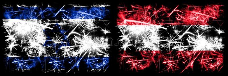 Israël, Israël, Autriche, Autriche, Autriche, Autriche, feux d'artifice scintillants et drapeaux d'idées illustration stock