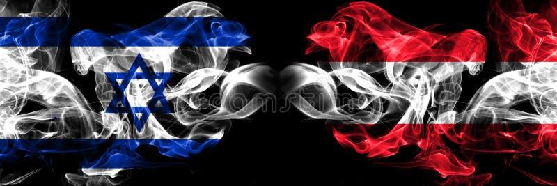 Israël, Israël, Autriche, la concurrence autrichienne épais drapeaux colorés fumés. Jeu européen de qualification de footbal illustration stock