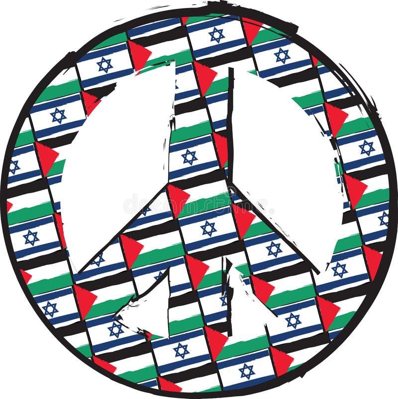 ISRAËL en de vlaggen of de bannervrede van PALESTINA & LIEFDEsymbool royalty-vrije illustratie