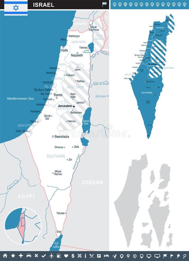 Israël - infographic kaart en vlagillustratie stock illustratie