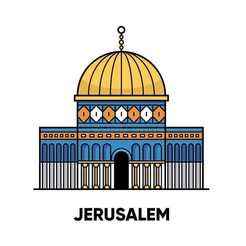 Israël, Jeruzalem, Moskeekoepel van de Rots, vectorreisillustratie, vlak pictogram vector illustratie