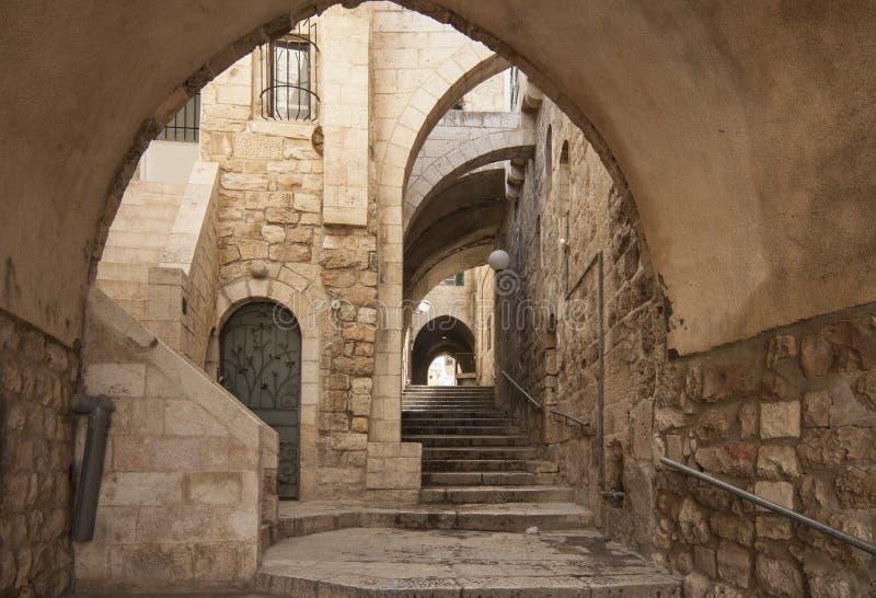 Israël - Jeruzalem - Oud stad verborgen gang, trap en AR royalty-vrije stock afbeelding