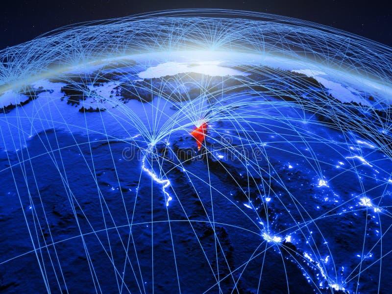 Israël op blauwe digitale aarde met internationaal netwerk die mededeling, reis en verbindingen vertegenwoordigen 3D Illustratie royalty-vrije stock fotografie