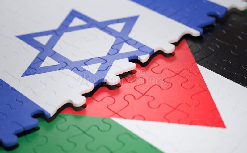 Israël tegenover het Conflict van de de Vlaggrens van Palestina stock foto's