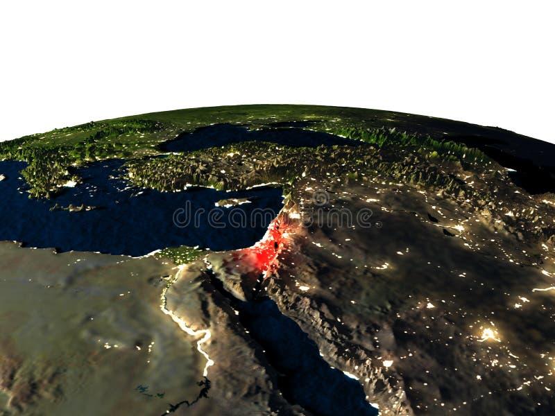 Israël van ruimte bij nacht royalty-vrije illustratie