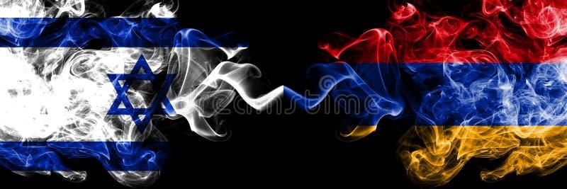 Israël versus Armenië, Armeense rokerige zij aan zij geplaatste mysticusvlaggen Dik gekleurde zijdeachtige rookvlag van Israël en vector illustratie