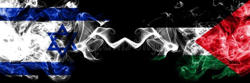 Israël versus Palestina, Palestijnse rokerige zij aan zij geplaatste mysticusvlaggen Dik gekleurde zijdeachtige rookvlag van Isra vector illustratie