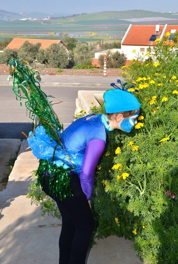 Israëlisch meisje in Purim Carnaval royalty-vrije stock fotografie