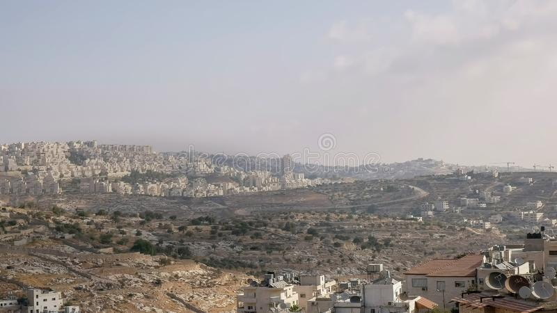 Israëlische nederzettingen op het betwiste Palestijnse grondgebied royalty-vrije stock afbeeldingen