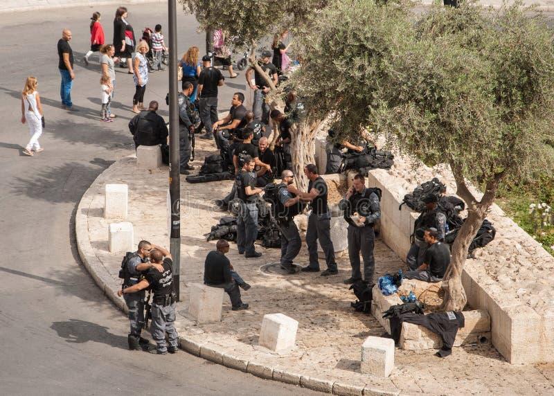 Israëlische Politie in Jeruzalem stock afbeelding