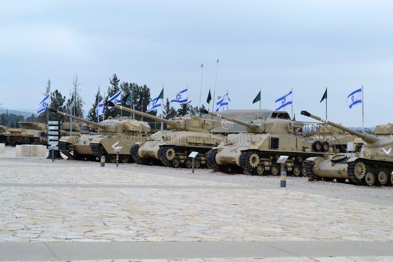 Israëlische tanks bij het Israëlische Tankmuseum in Latrun, Israël stock foto's