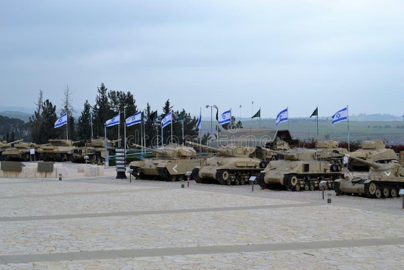 Israëlische tanks bij het Israëlische Tankmuseum in Latrun, Israël stock afbeeldingen