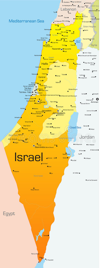 Israel. Abstract vector color map of Israel country stock illustration