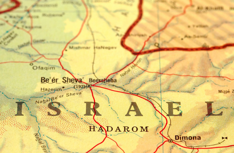 Israel. Close-up map detail of Israel