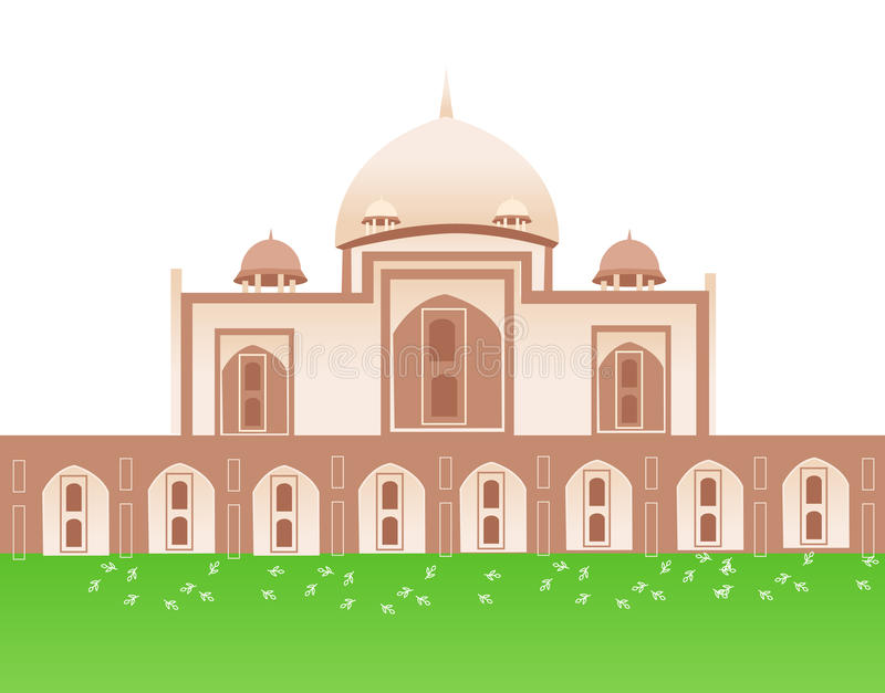 Israel. Muslim church with the green lawn vector illustration