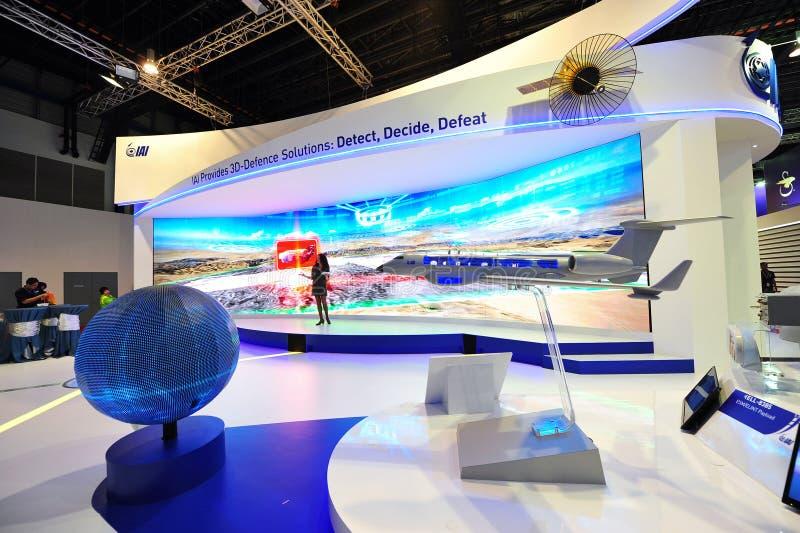 Israel Aircraft Industries die (IAI) hun 3D defensieoplossingen voorstellen in Singapore Airshow royalty-vrije stock foto's