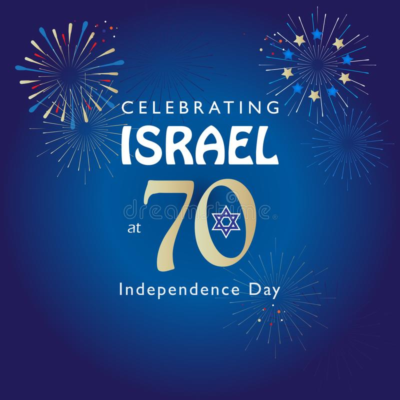 Israel 70 anniversary, Independence Day. Calligraphy text festive greeting poster, Jewish Holiday, Jerusalem banner with Israeli blue star, fireworks, vector royalty free illustration