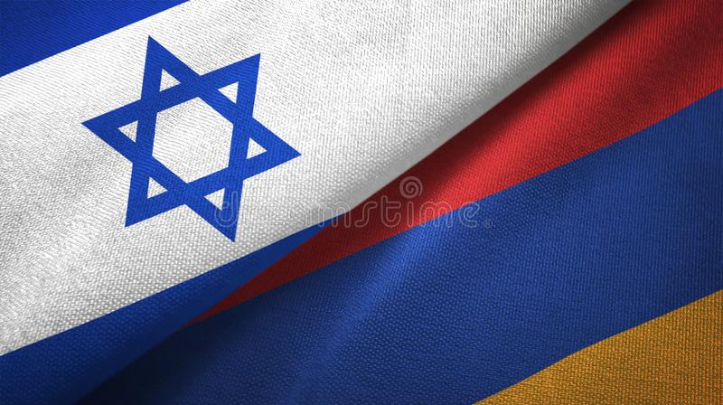 Israel and Armenia two flags textile cloth, fabric texture vector illustration