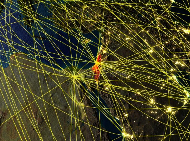Israel auf Erde mit Netzen lizenzfreie abbildung