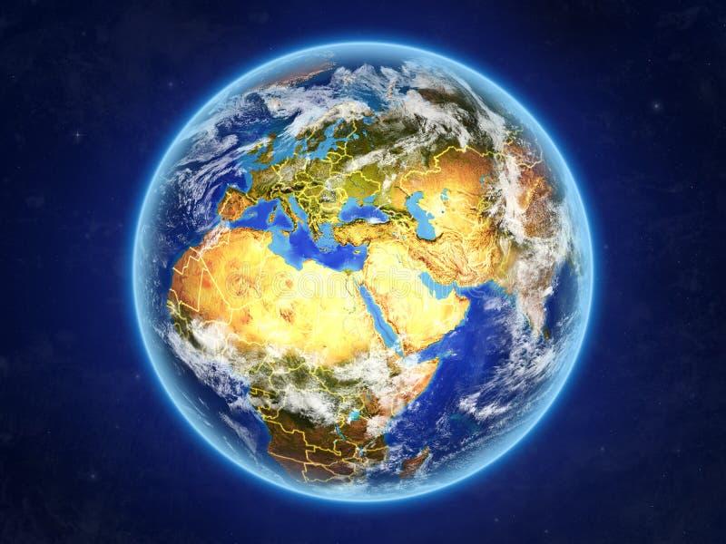 Israel auf Erde vom Raum lizenzfreie abbildung