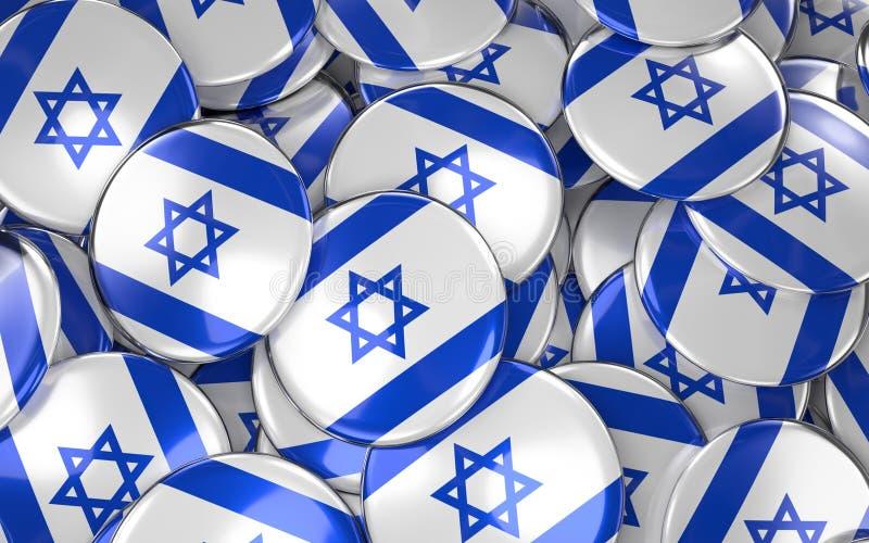 Israel Badges Background - pile des boutons israéliens de drapeau illustration libre de droits