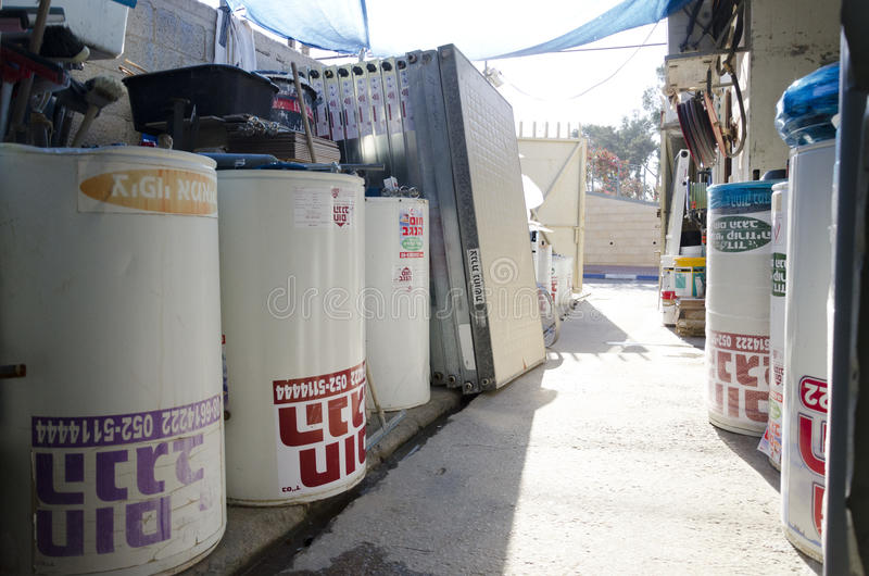 Israel, Beer-Sheva -New solar water heaters in stock. Middle East- Mitzpe Ramon, Israel. February 29,The installation of new solar water heaters companies Hom stock images