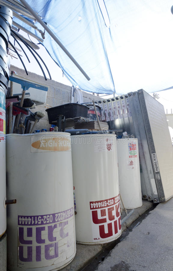 Israel, Beer-Sheva -New solar water heaters in stock. Middle East- Mitzpe Ramon, Israel. February 29,The installation of new solar water heaters companies Hom royalty free stock photos