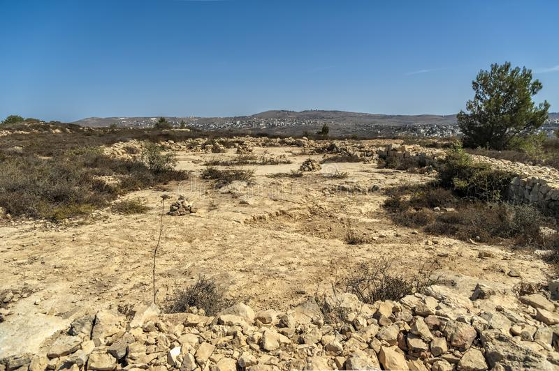 Israel Bethel. View of officially identified spot The Rock of Jacobs dream in Bethel as described in genesis 28-12-19 in the old t. Estament of the bible stock photo