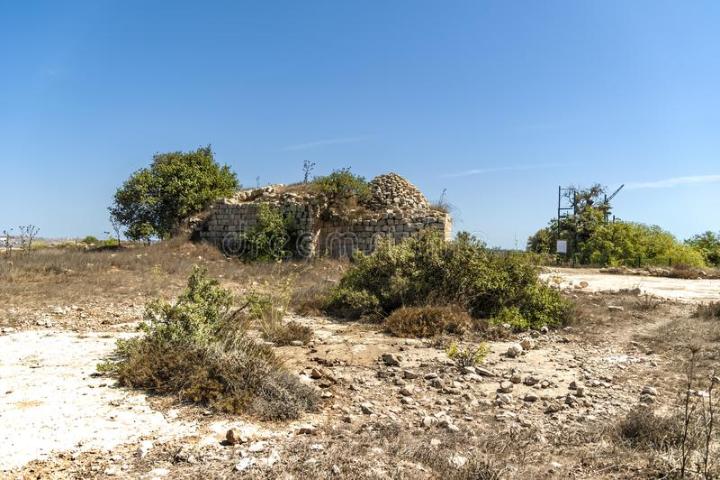 Israel Bethel Vista del punto oficialmente identificado la roca del sueño de Jacobs en Bethel según lo descrito en la génesis 28- foto de archivo libre de regalías