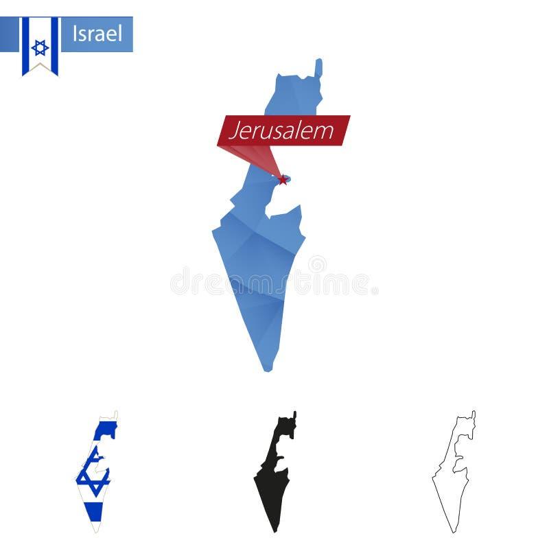 Israel blå låg Poly översikt med huvudstad Jerusalem stock illustrationer