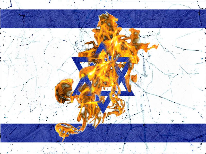 Israel Burning Flag Illustration Concept illustration stock