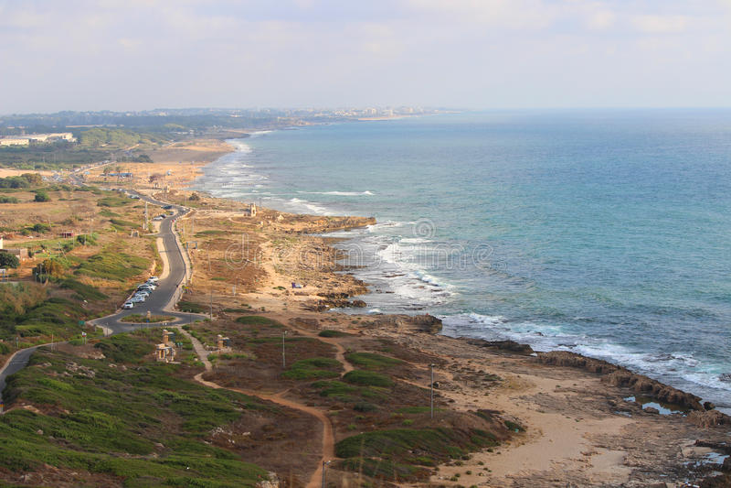 Israel Coast Rosh HaNikra in Richtung zu Naharija lizenzfreies stockfoto