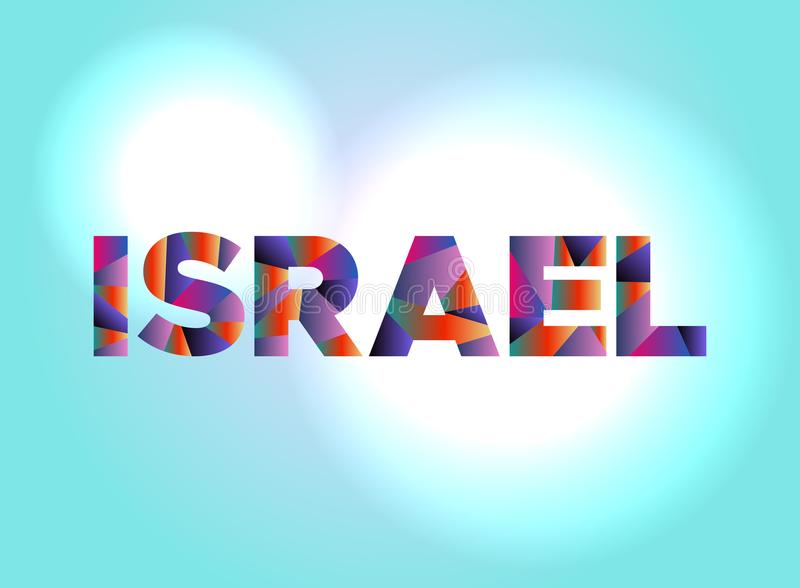Israel Concept Colorful Word Art-Illustration lizenzfreie abbildung