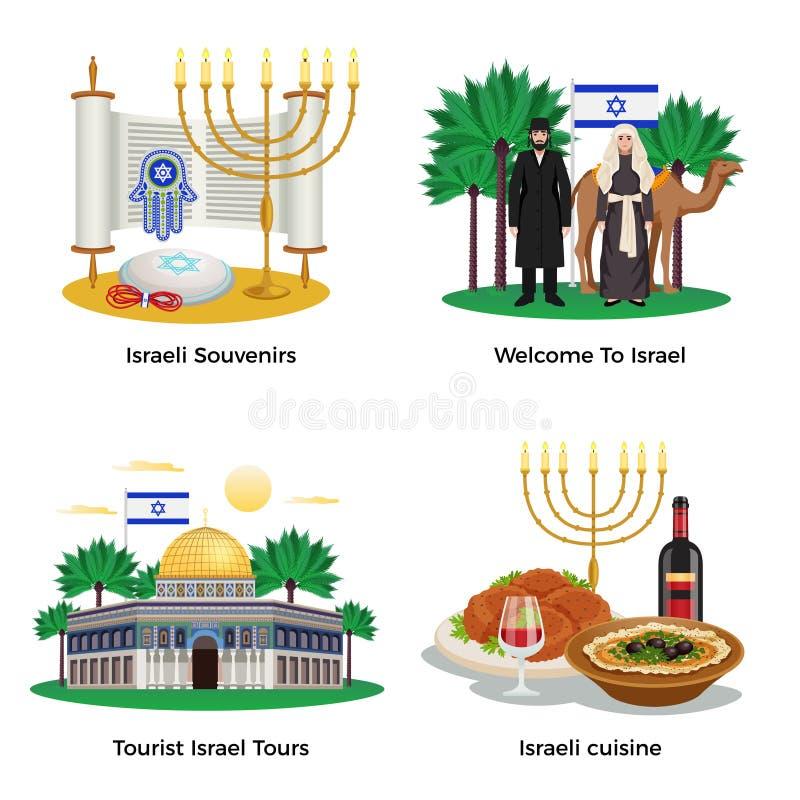 Israel Concept Icons Set ilustração royalty free