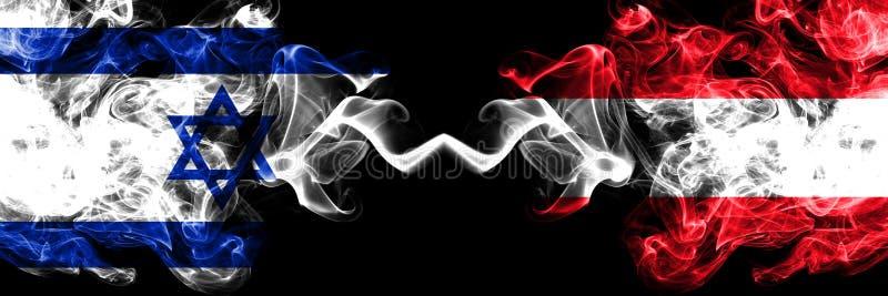 Israel contra Áustria, bandeiras místicos fumarentos austríacas colocadas de lado a lado Grosso colorido de seda fuma a bandeira  ilustração royalty free