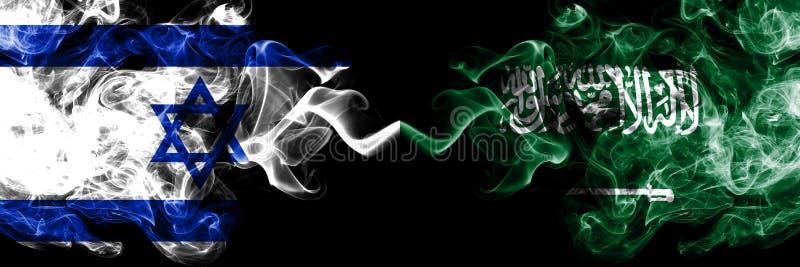 Israel contra Arábia Saudita, bandeiras místicos fumarentos árabes colocadas de lado a lado Grosso colorido de seda fuma a bandei ilustração do vetor