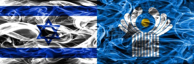 Israel contra as bandeiras do fumo da comunidade colocadas de lado a lado israeli foto de stock royalty free