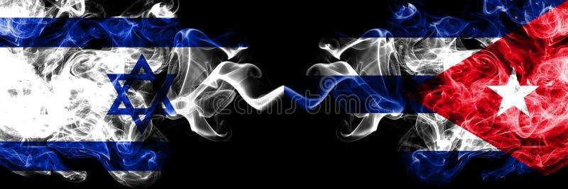 Israel contra Cuba, banderas místicas ahumadas cubanas colocadas de lado a lado Grueso coloreado sedoso fuma la bandera de Israel libre illustration