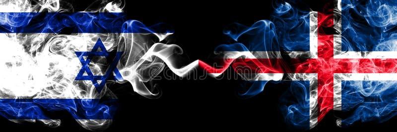 Israel contra Islandia, banderas místicas ahumadas islandesas colocadas de lado a lado Grueso coloreado sedoso fuma la bandera de ilustración del vector