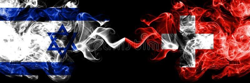 Israel contra Suíça, bandeiras místicos fumarentos suíças colocadas de lado a lado Grosso colorido de seda fuma a bandeira de Isr ilustração royalty free