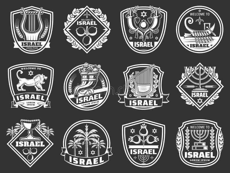 Israel David star, lion, menorah. Judaism badges. Israel shield badges with judaism religion and culture vector symbols. Star of David, jewish menorah and royalty free illustration