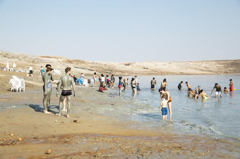 People swimming in Dead sea stock photos