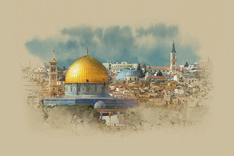 Israel, the dome of the rock in Jerusalem royalty free stock photo