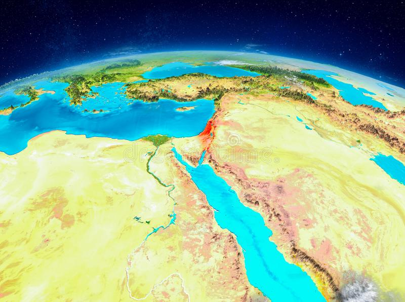 Israel on Earth. Orbit view of Israel highlighted in red on planet Earth with highly detailed surface textures. 3D illustration. Elements of this image furnished stock illustration