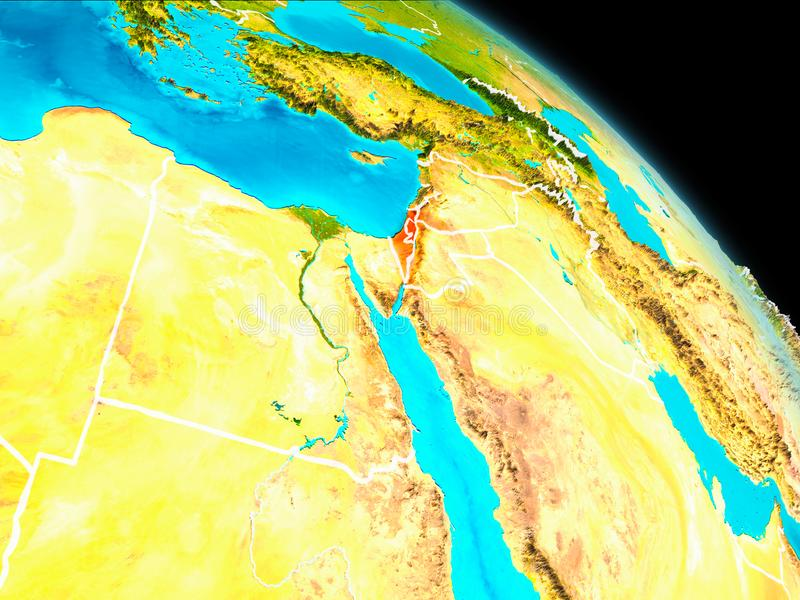 Israel on Earth. Space orbit view of Israel highlighted in red on planet Earth with visible borders. 3D illustration. Elements of this image furnished by NASA vector illustration